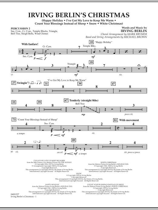 Michael Brown Irving Berlin's Christmas (Medley) - Percussion 2 sheet music notes and chords
