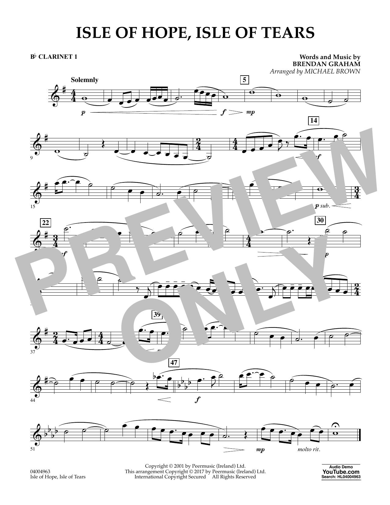 Michael Brown Isle of Hope, Isle of Tears - Bb Clarinet 1 sheet music notes and chords. Download Printable PDF.