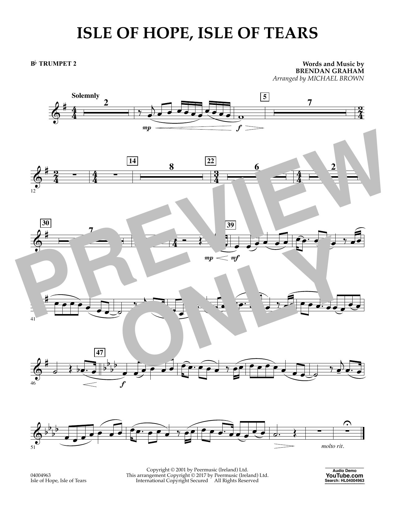 Michael Brown Isle of Hope, Isle of Tears - Bb Trumpet 2 sheet music notes and chords. Download Printable PDF.