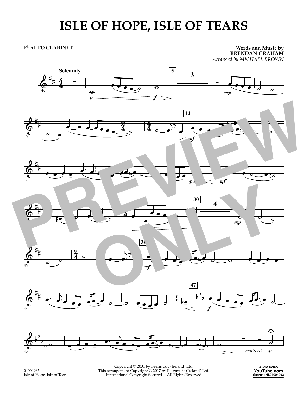Michael Brown Isle of Hope, Isle of Tears - Eb Alto Clarinet sheet music notes and chords. Download Printable PDF.