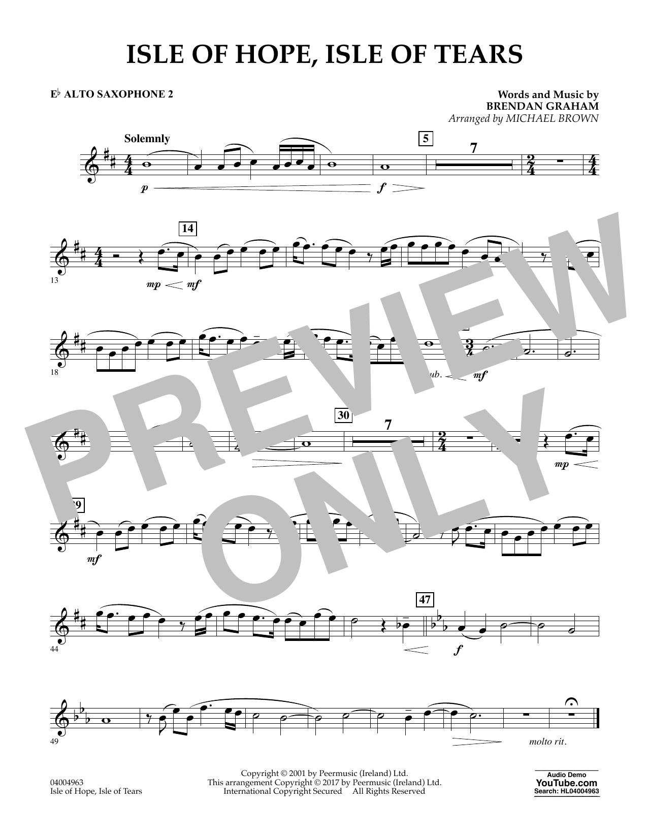 Michael Brown Isle of Hope, Isle of Tears - Eb Alto Saxophone 2 sheet music notes and chords. Download Printable PDF.