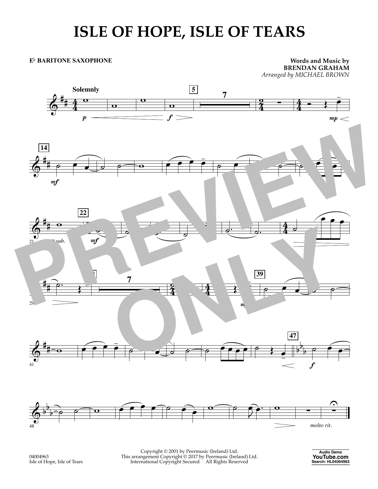 Michael Brown Isle of Hope, Isle of Tears - Eb Baritone Saxophone sheet music notes and chords. Download Printable PDF.