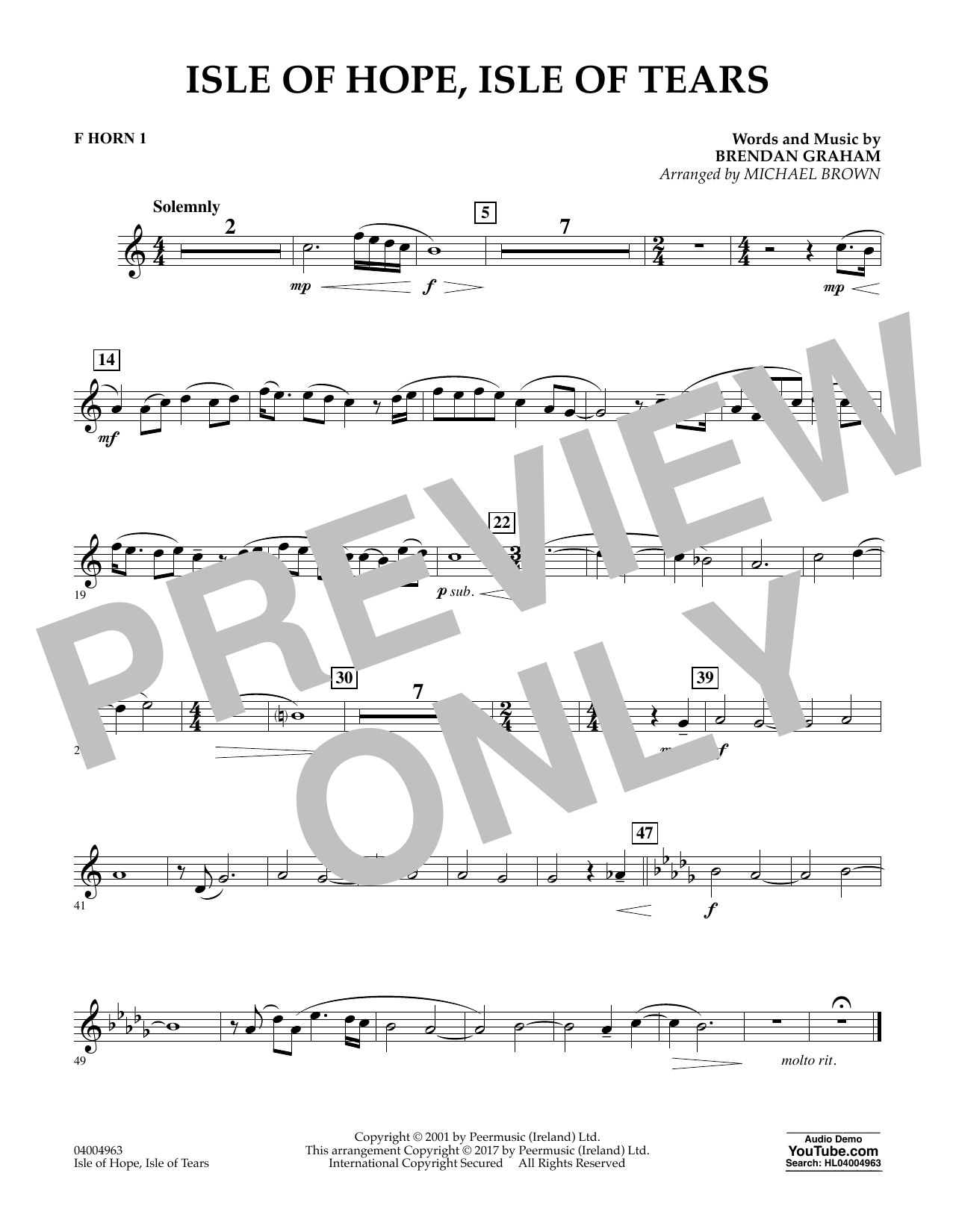 Michael Brown Isle of Hope, Isle of Tears - F Horn 1 sheet music notes and chords. Download Printable PDF.