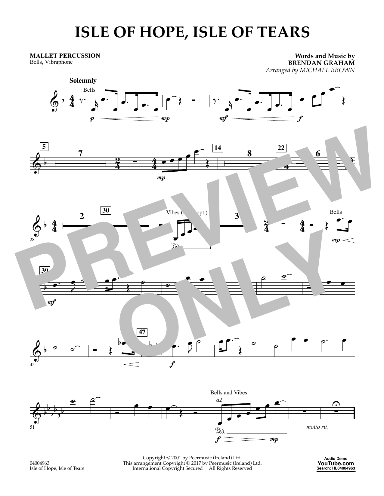 Michael Brown Isle of Hope, Isle of Tears - Mallet Percussion sheet music notes and chords. Download Printable PDF.
