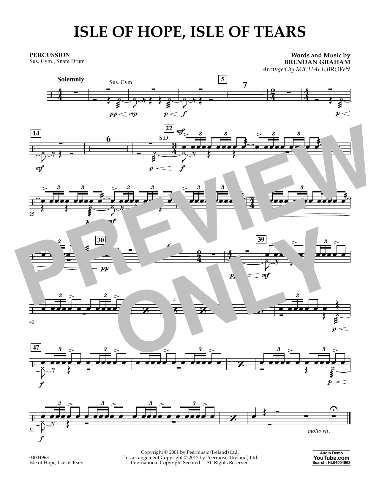Michael Brown Isle of Hope, Isle of Tears - Percussion sheet music notes and chords. Download Printable PDF.