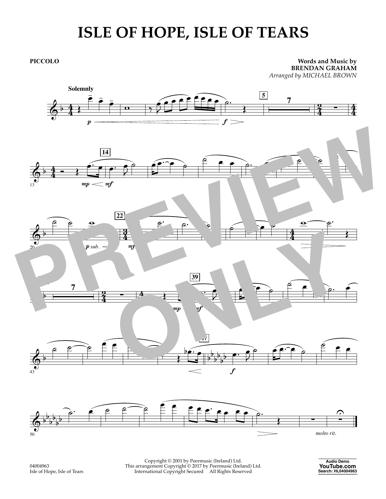 Michael Brown Isle of Hope, Isle of Tears - Piccolo sheet music notes and chords. Download Printable PDF.