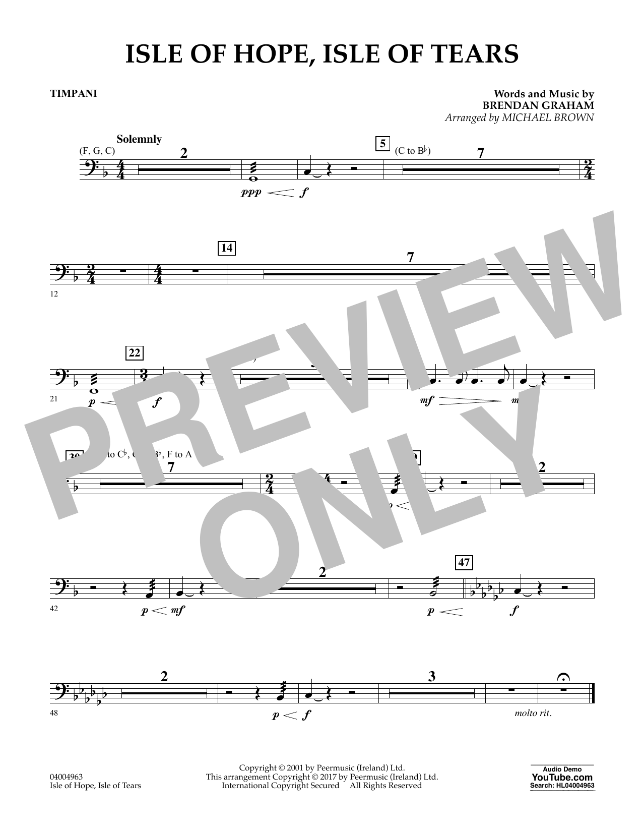 Michael Brown Isle of Hope, Isle of Tears - Timpani sheet music notes and chords. Download Printable PDF.