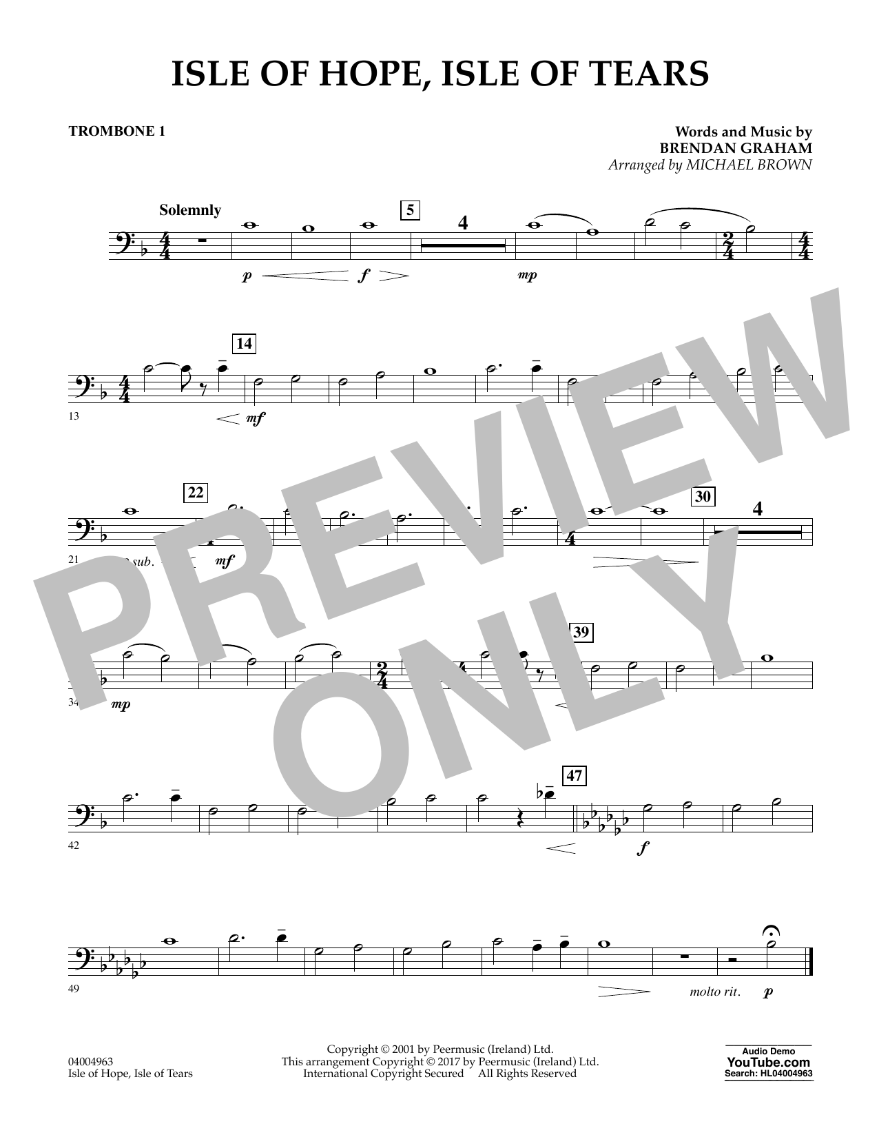 Michael Brown Isle of Hope, Isle of Tears - Trombone 1 sheet music notes and chords. Download Printable PDF.