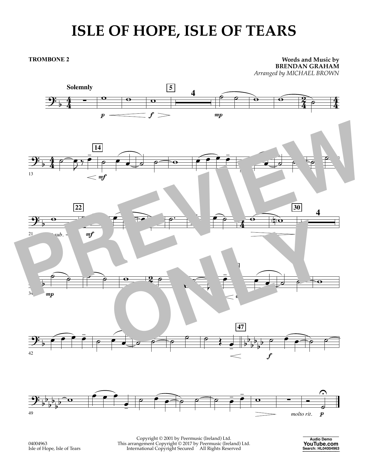 Michael Brown Isle of Hope, Isle of Tears - Trombone 2 sheet music notes and chords. Download Printable PDF.