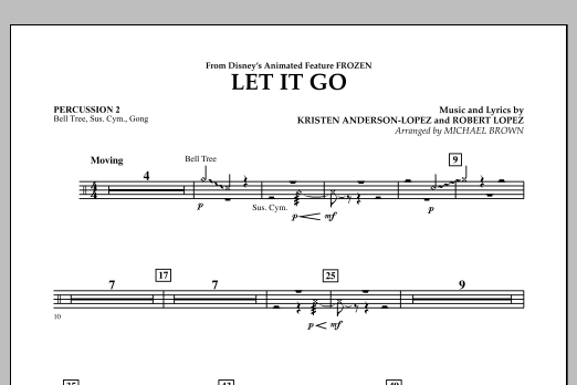 Michael Brown Let It Go (from Frozen) - Percussion 2 sheet music notes and chords. Download Printable PDF.