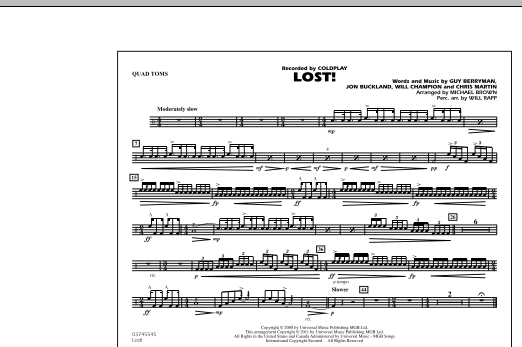 Michael Brown Lost! - Quad Toms sheet music notes and chords. Download Printable PDF.