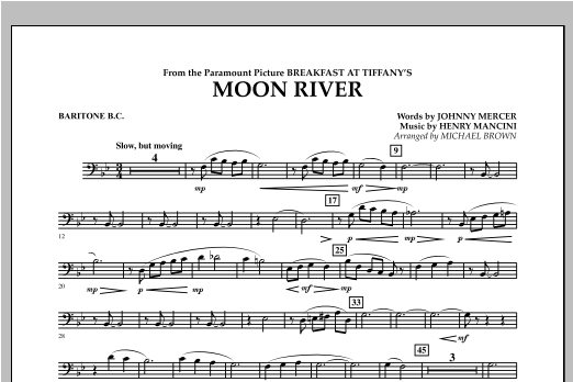 Michael Brown Moon River - Baritone B.C. sheet music notes and chords. Download Printable PDF.