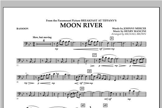 Michael Brown Moon River - Bassoon sheet music notes and chords. Download Printable PDF.
