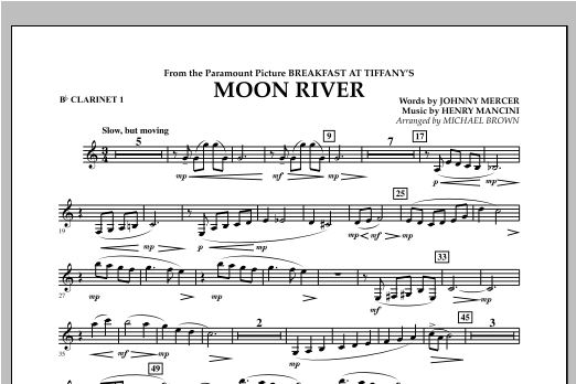 Michael Brown Moon River - Bb Clarinet 1 sheet music notes and chords. Download Printable PDF.