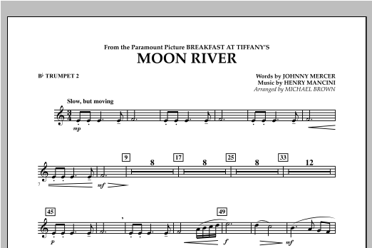 Michael Brown Moon River - Bb Trumpet 2 sheet music notes and chords. Download Printable PDF.