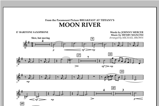 Michael Brown Moon River - Eb Baritone Saxophone sheet music notes and chords. Download Printable PDF.