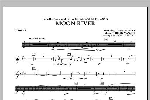 Michael Brown Moon River - F Horn 1 sheet music notes and chords. Download Printable PDF.