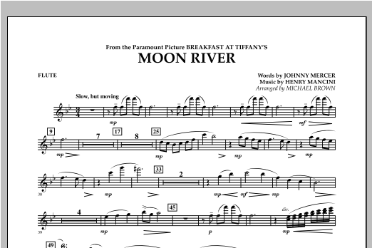 Michael Brown Moon River - Flute sheet music notes and chords. Download Printable PDF.