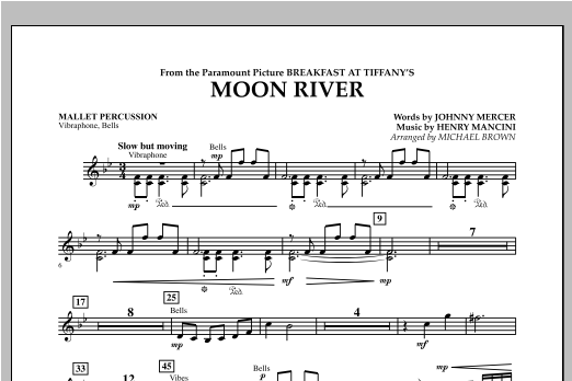 Michael Brown Moon River - Mallet Percussion sheet music notes and chords. Download Printable PDF.