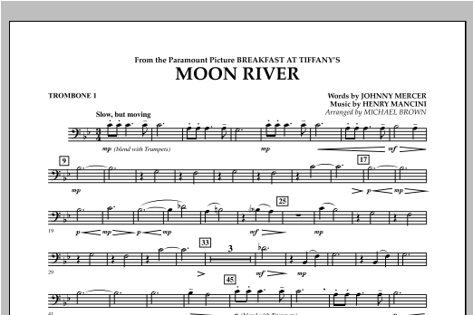 Michael Brown Moon River - Trombone 1 sheet music notes and chords. Download Printable PDF.