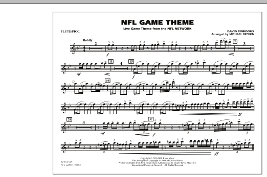 Michael Brown NFL Game Theme - Flute/Piccolo sheet music notes and chords
