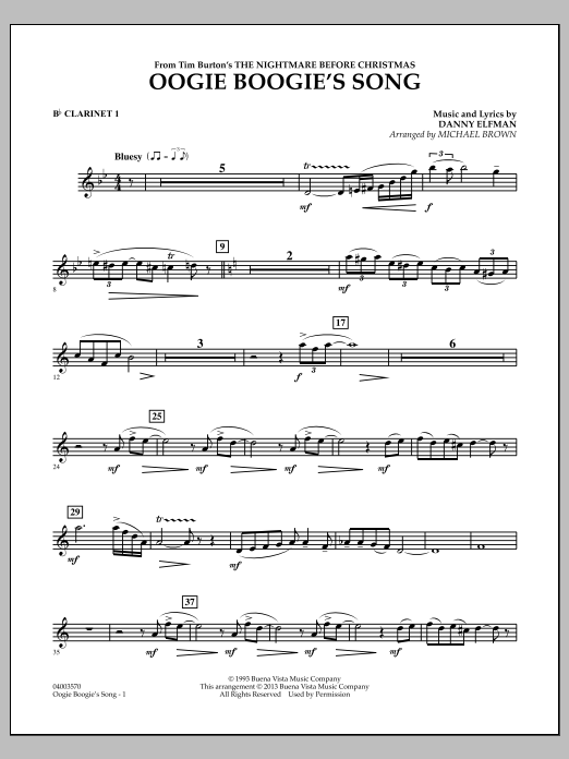 Michael Brown Oogie Boogie's Song (from The Nightmare Before Christmas) - Bb Clarinet 1 sheet music notes and chords. Download Printable PDF.