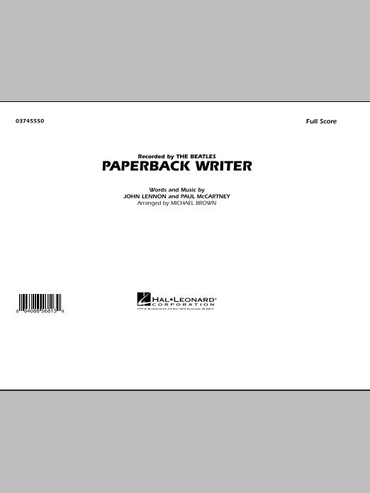 Michael Brown Paperback Writer - Full Score sheet music notes and chords. Download Printable PDF.
