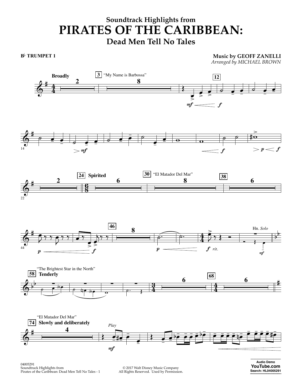 Michael Brown Pirates of the Caribbean: Dead Men Tell No Tales - Bb Trumpet 1 sheet music notes and chords. Download Printable PDF.