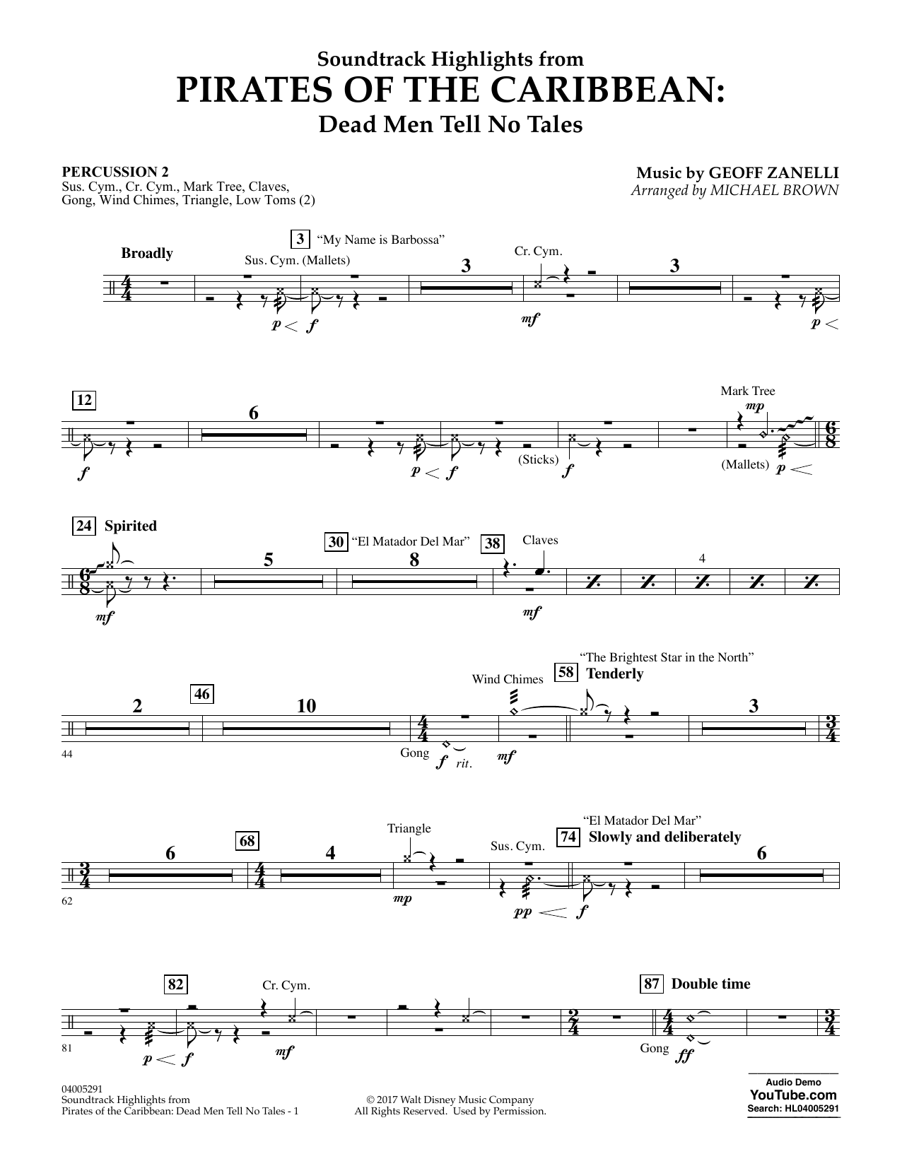 Michael Brown Pirates of the Caribbean: Dead Men Tell No Tales - Percussion 2 sheet music notes and chords. Download Printable PDF.