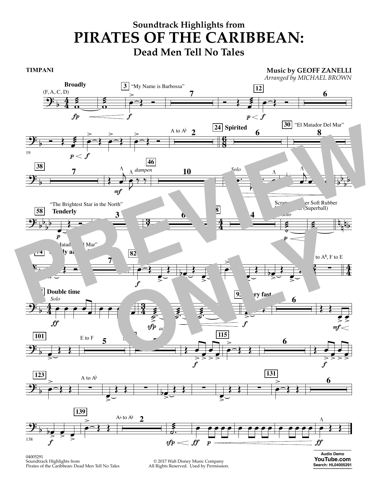 Michael Brown Pirates of the Caribbean: Dead Men Tell No Tales - Timpani sheet music notes and chords. Download Printable PDF.