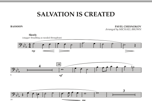 Michael Brown Salvation Is Created - Bassoon sheet music notes and chords. Download Printable PDF.
