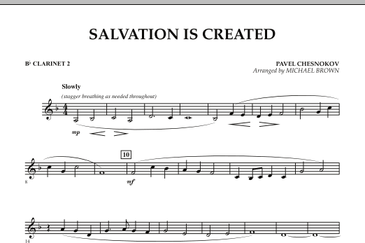 Michael Brown Salvation Is Created - Bb Clarinet 2 sheet music notes and chords. Download Printable PDF.
