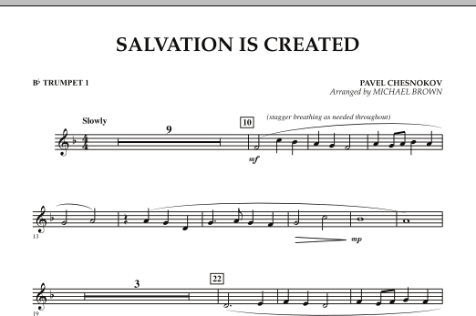Michael Brown Salvation Is Created - Bb Trumpet 1 sheet music notes and chords. Download Printable PDF.