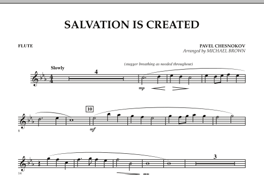 Michael Brown Salvation Is Created - Flute sheet music notes and chords. Download Printable PDF.