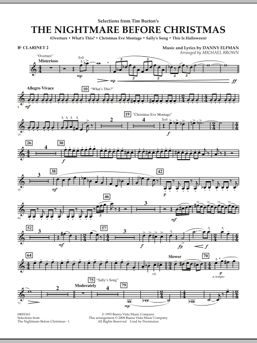Michael Brown Selections from The Nightmare Before Christmas - Bb Clarinet 2 sheet music notes and chords. Download Printable PDF.
