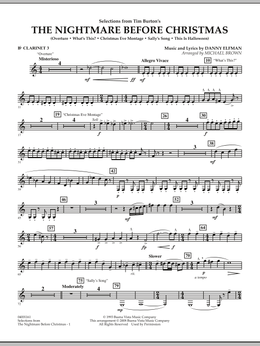 Michael Brown Selections from The Nightmare Before Christmas - Bb Clarinet 3 sheet music notes and chords. Download Printable PDF.
