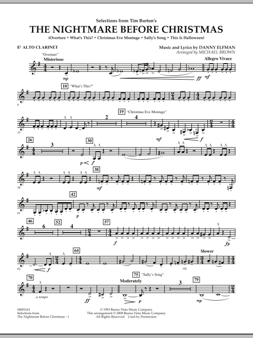 Michael Brown Selections from The Nightmare Before Christmas - Eb Alto Clarinet sheet music notes and chords. Download Printable PDF.