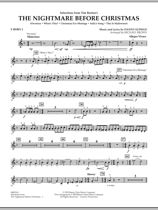 Michael Brown Selections from The Nightmare Before Christmas - F Horn 2 sheet music notes and chords. Download Printable PDF.
