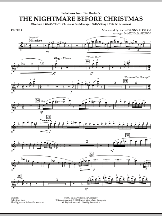Michael Brown Selections from The Nightmare Before Christmas - Flute 1 sheet music notes and chords. Download Printable PDF.