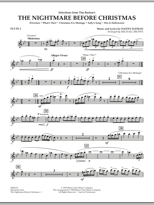 Michael Brown Selections from The Nightmare Before Christmas - Flute 2 sheet music notes and chords. Download Printable PDF.