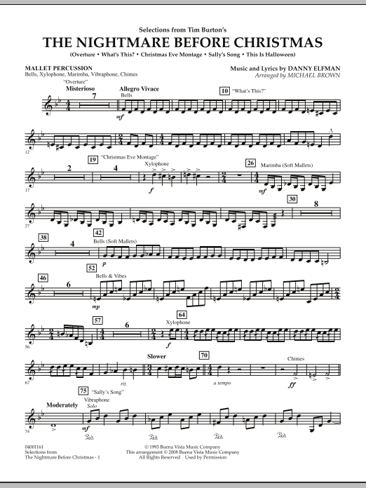 Michael Brown Selections from The Nightmare Before Christmas - Mallet Percussion sheet music notes and chords. Download Printable PDF.