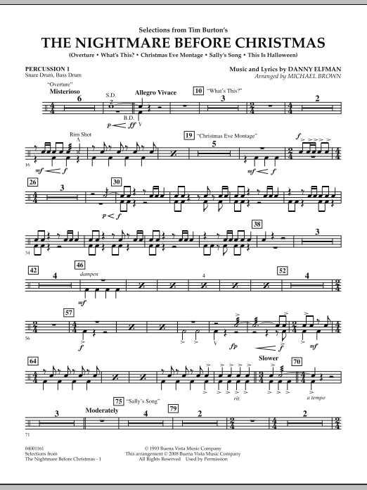 Michael Brown Selections from The Nightmare Before Christmas - Percussion 1 sheet music notes and chords. Download Printable PDF.
