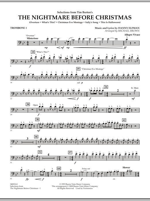 Michael Brown Selections from The Nightmare Before Christmas - Trombone 1 sheet music notes and chords. Download Printable PDF.