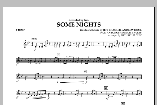 Michael Brown Some Nights - F Horn sheet music notes and chords. Download Printable PDF.