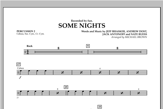 Michael Brown Some Nights - Percussion 2 sheet music notes and chords. Download Printable PDF.