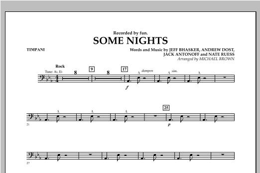 Michael Brown Some Nights - Timpani sheet music notes and chords. Download Printable PDF.