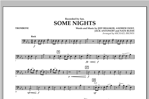 Michael Brown Some Nights - Trombone sheet music notes and chords. Download Printable PDF.
