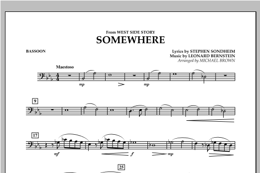 Michael Brown Somewhere (from West Side Story) - Bassoon sheet music notes and chords