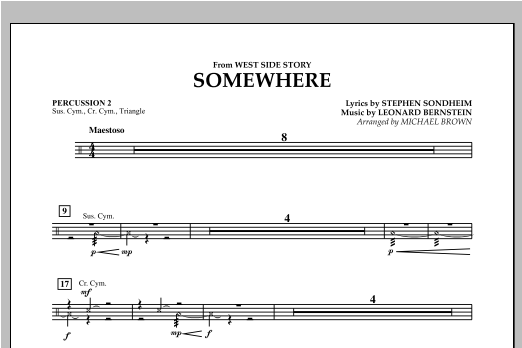 Michael Brown Somewhere (from West Side Story) - Percussion 2 sheet music notes and chords