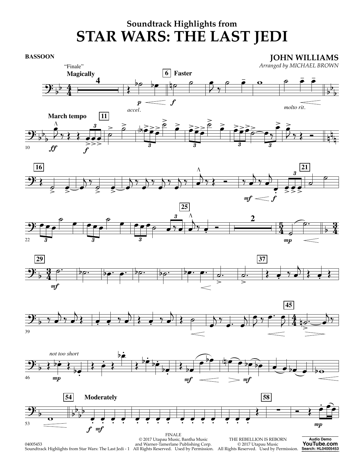 Michael Brown Soundtrack Highlights from Star Wars: The Last Jedi - Bassoon sheet music notes and chords. Download Printable PDF.